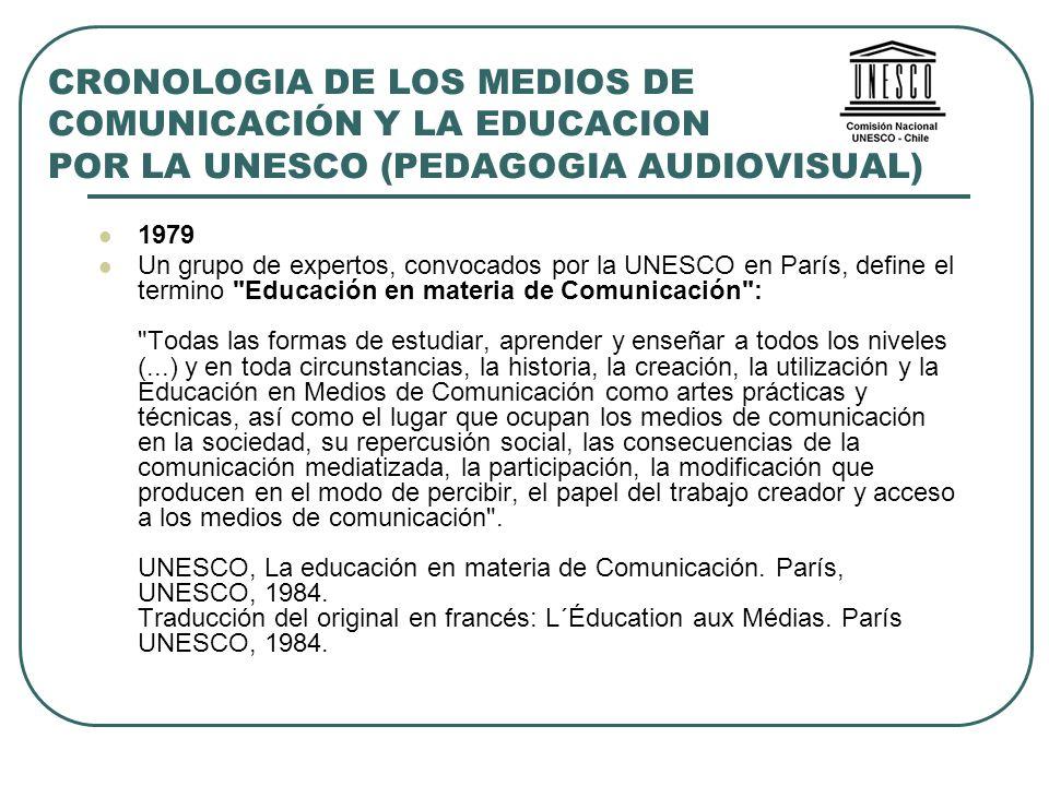 CRONOLOGIA DE LOS MEDIOS DE COMUNICACIÓN Y LA EDUCACION POR LA UNESCO (PEDAGOGIA AUDIOVISUAL) 1979 Un grupo de expertos, convocados por la UNESCO en P