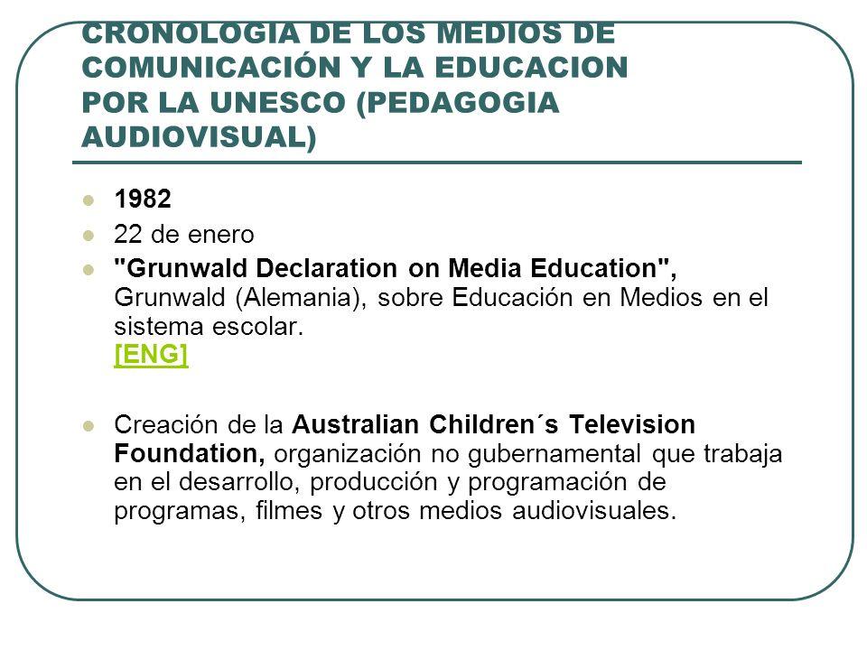 CRONOLOGIA DE LOS MEDIOS DE COMUNICACIÓN Y LA EDUCACION POR LA UNESCO (PEDAGOGIA AUDIOVISUAL) 1982 22 de enero