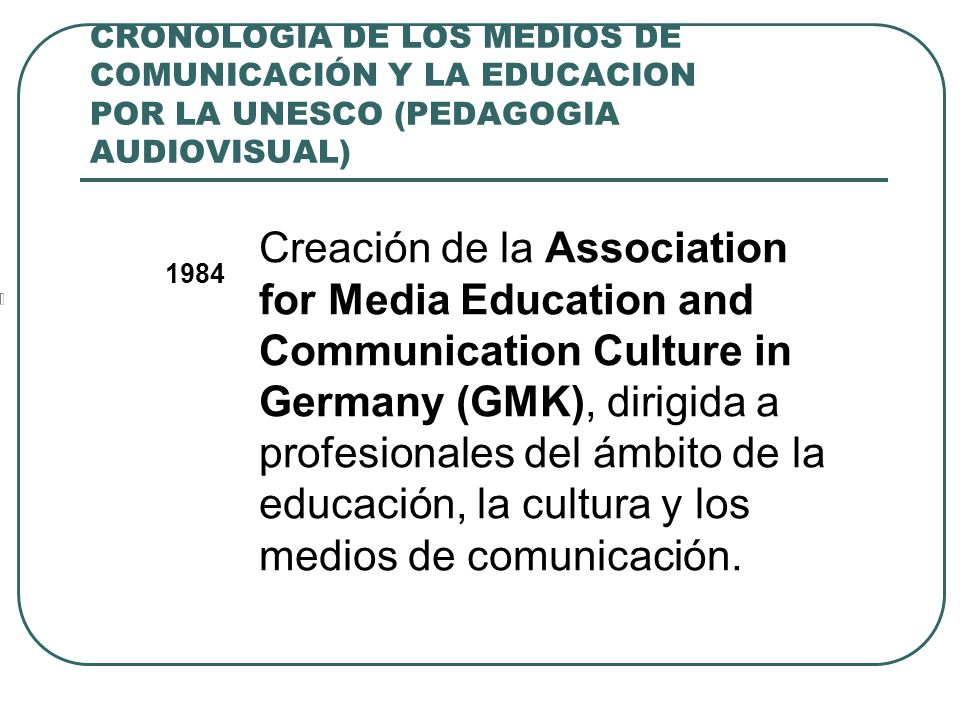 CRONOLOGIA DE LOS MEDIOS DE COMUNICACIÓN Y LA EDUCACION POR LA UNESCO (PEDAGOGIA AUDIOVISUAL) 1984 Creación de la Association for Media Education and