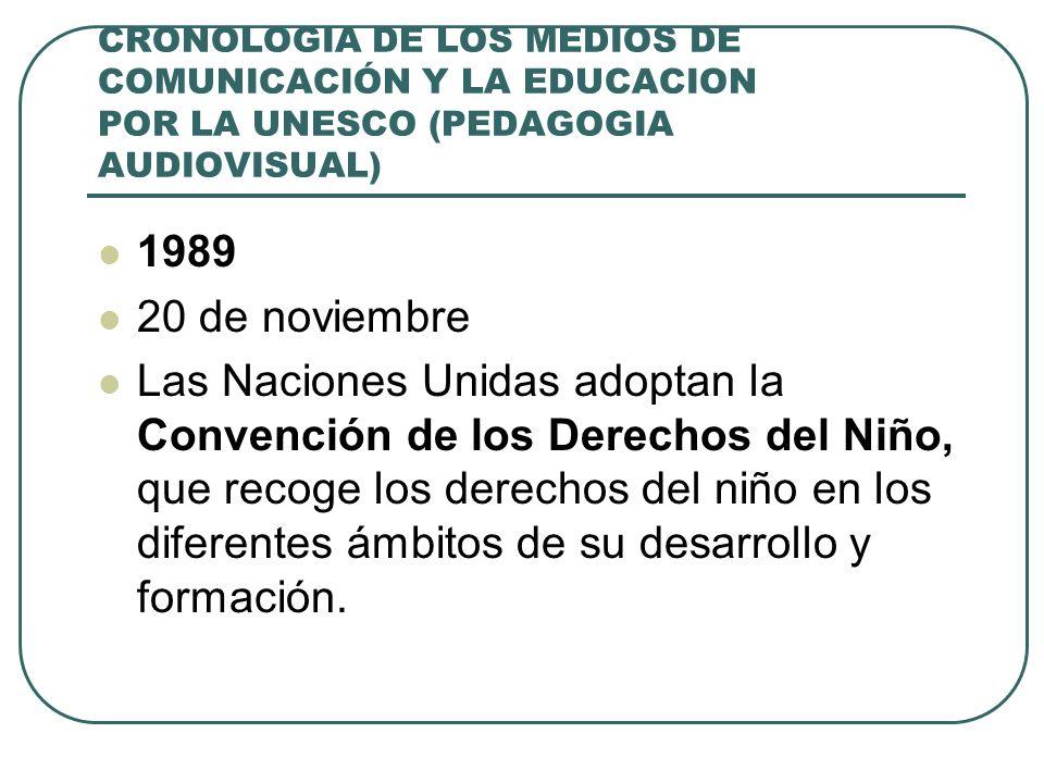 CRONOLOGIA DE LOS MEDIOS DE COMUNICACIÓN Y LA EDUCACION POR LA UNESCO (PEDAGOGIA AUDIOVISUAL) 1989 20 de noviembre Las Naciones Unidas adoptan la Conv