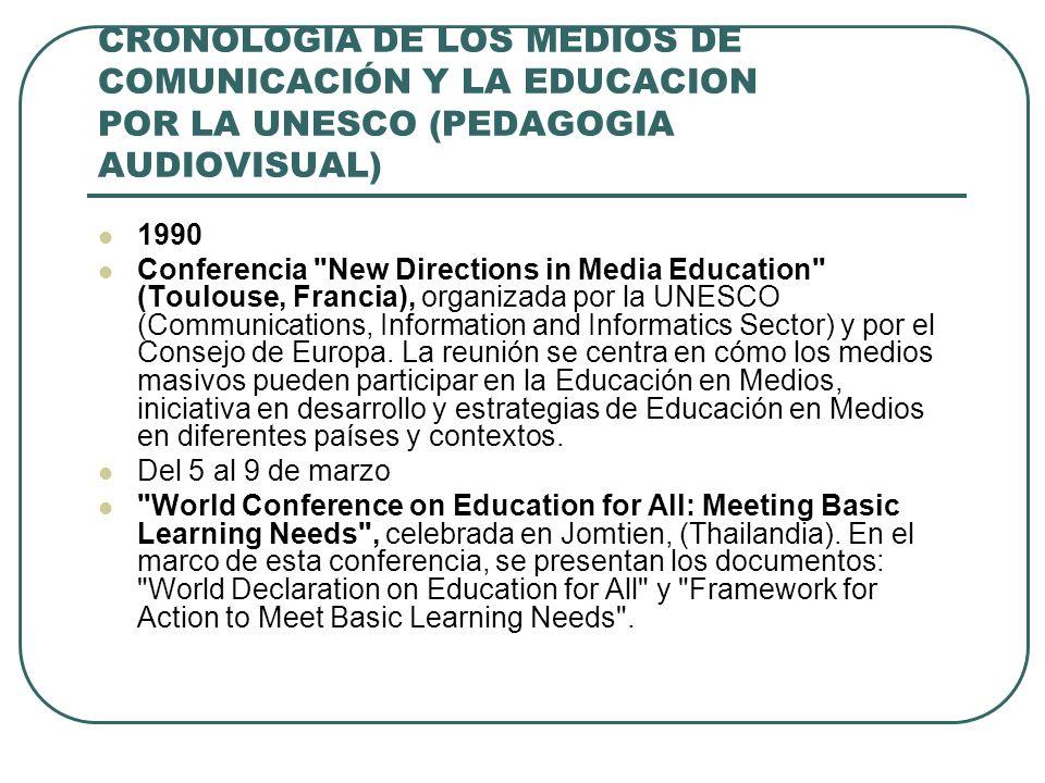CRONOLOGIA DE LOS MEDIOS DE COMUNICACIÓN Y LA EDUCACION POR LA UNESCO (PEDAGOGIA AUDIOVISUAL) 1990 Conferencia