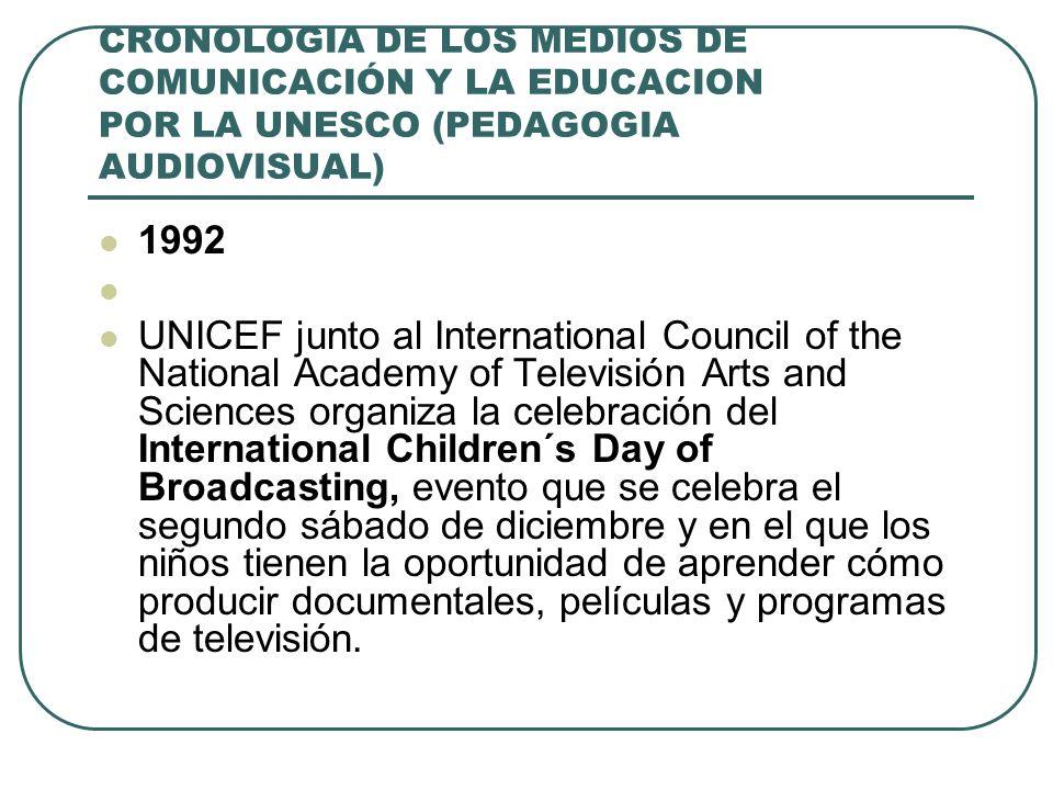 CRONOLOGIA DE LOS MEDIOS DE COMUNICACIÓN Y LA EDUCACION POR LA UNESCO (PEDAGOGIA AUDIOVISUAL) 1992 UNICEF junto al International Council of the Nation