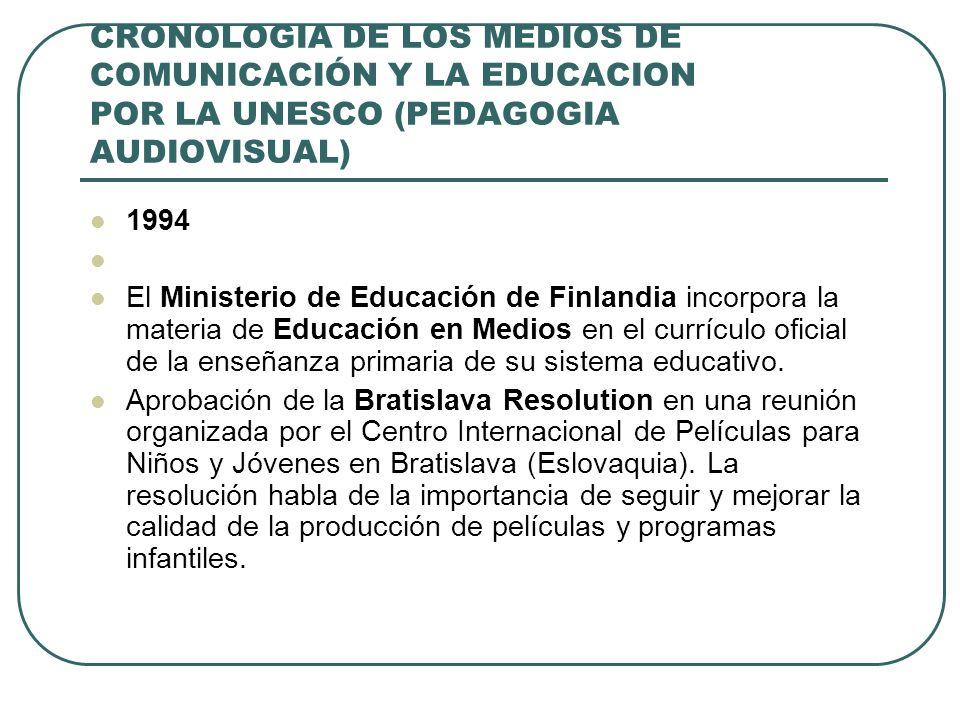 CRONOLOGIA DE LOS MEDIOS DE COMUNICACIÓN Y LA EDUCACION POR LA UNESCO (PEDAGOGIA AUDIOVISUAL) 1994 El Ministerio de Educación de Finlandia incorpora l