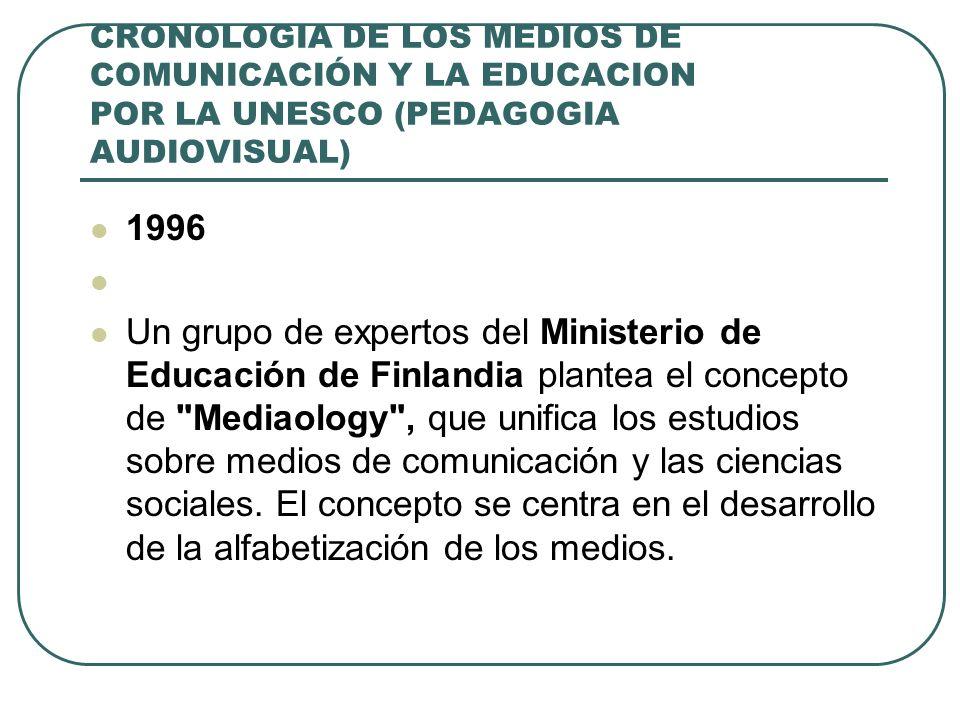 CRONOLOGIA DE LOS MEDIOS DE COMUNICACIÓN Y LA EDUCACION POR LA UNESCO (PEDAGOGIA AUDIOVISUAL) 1996 Un grupo de expertos del Ministerio de Educación de