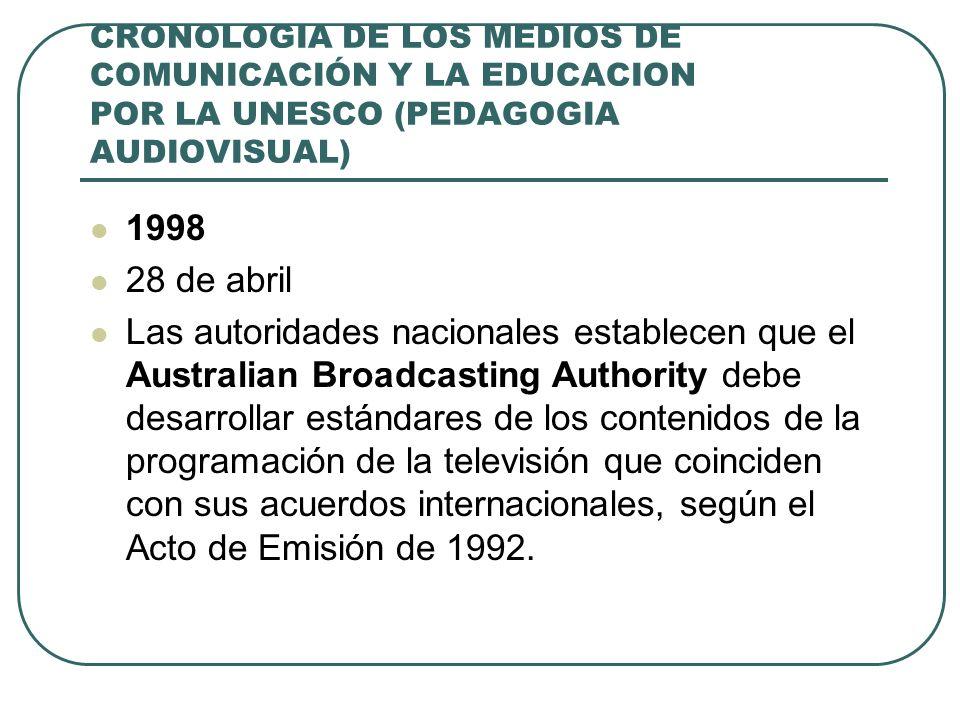 CRONOLOGIA DE LOS MEDIOS DE COMUNICACIÓN Y LA EDUCACION POR LA UNESCO (PEDAGOGIA AUDIOVISUAL) 1998 28 de abril Las autoridades nacionales establecen q