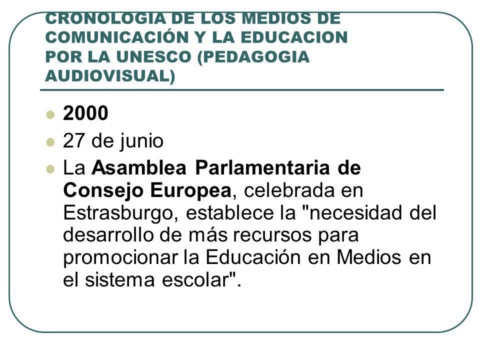 CRONOLOGIA DE LOS MEDIOS DE COMUNICACIÓN Y LA EDUCACION POR LA UNESCO (PEDAGOGIA AUDIOVISUAL) 2000 27 de junio La Asamblea Parlamentaria de Consejo Eu