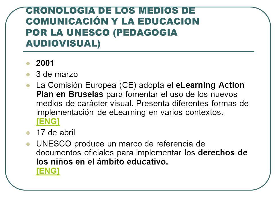 CRONOLOGIA DE LOS MEDIOS DE COMUNICACIÓN Y LA EDUCACION POR LA UNESCO (PEDAGOGIA AUDIOVISUAL) 2001 3 de marzo La Comisión Europea (CE) adopta el eLear