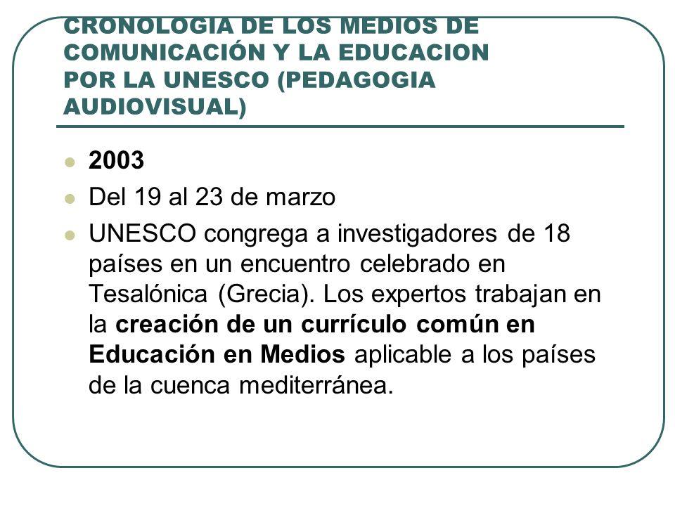 CRONOLOGIA DE LOS MEDIOS DE COMUNICACIÓN Y LA EDUCACION POR LA UNESCO (PEDAGOGIA AUDIOVISUAL) 2003 Del 19 al 23 de marzo UNESCO congrega a investigado