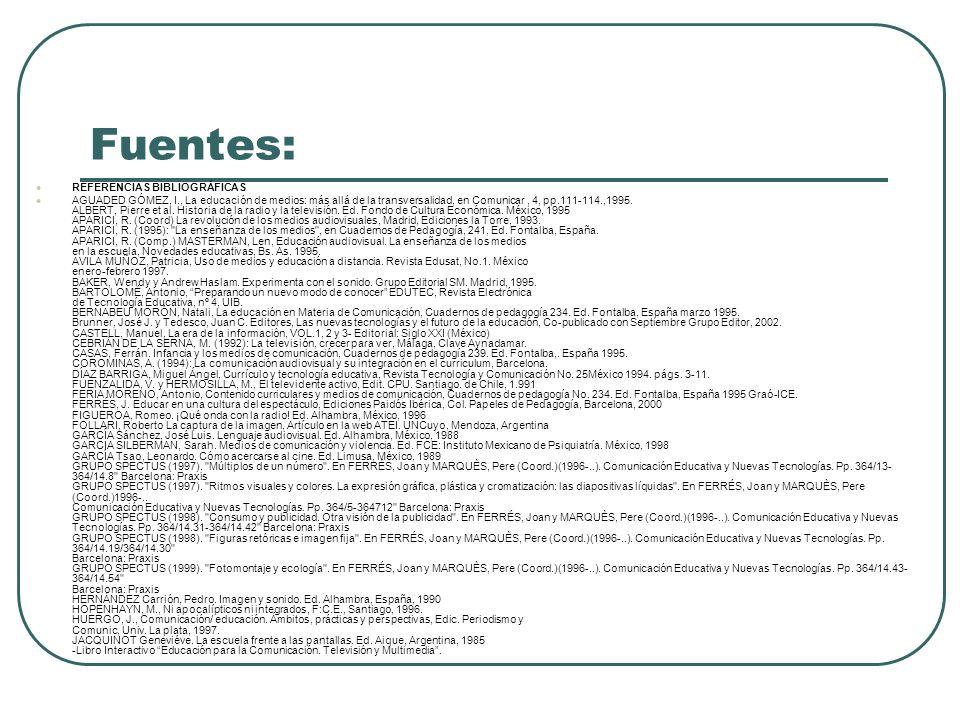 Fuentes: REFERENCIAS BIBLIOGRÁFICAS AGUADED GÓMEZ, I., La educación de medios: más allá de la transversalidad, en Comunicar, 4, pp.111-114.,1995. ALBE