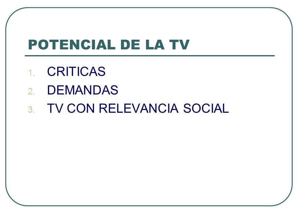 POTENCIAL DE LA TV 1. CRITICAS 2. DEMANDAS 3. TV CON RELEVANCIA SOCIAL
