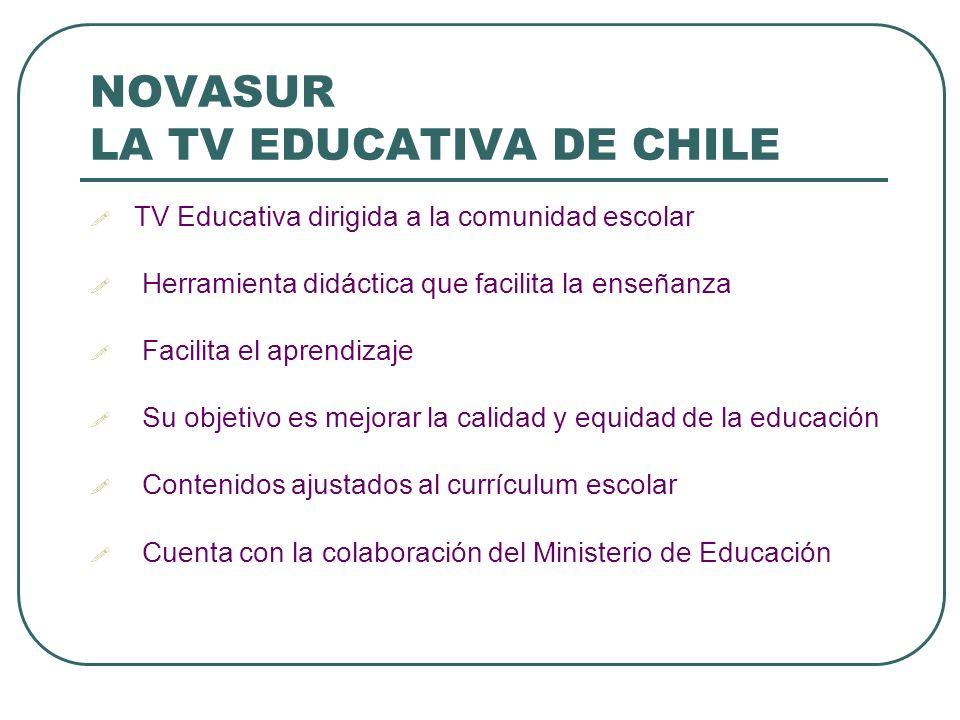 NOVASUR LA TV EDUCATIVA DE CHILE TV Educativa dirigida a la comunidad escolar Herramienta didáctica que facilita la enseñanza Facilita el aprendizaje