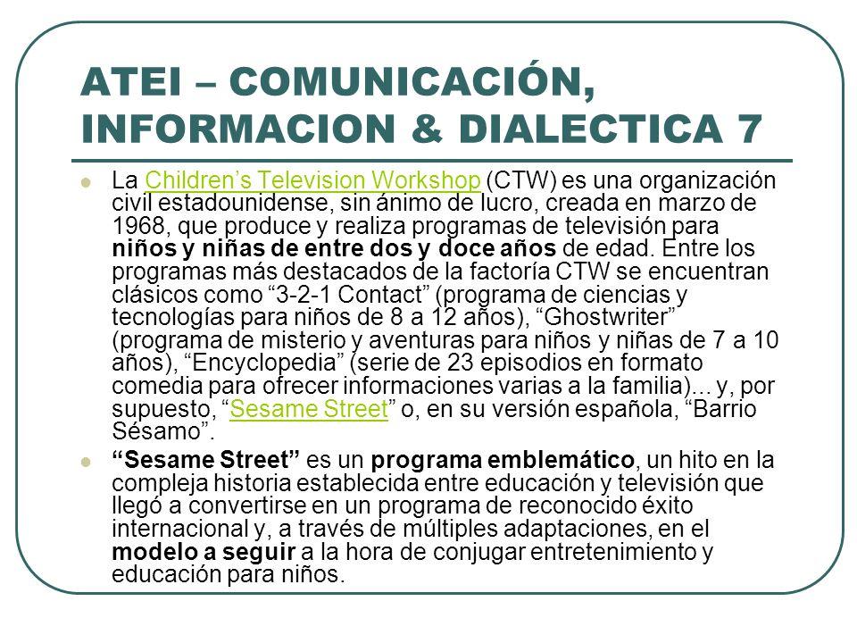 ATEI – COMUNICACIÓN, INFORMACION & DIALECTICA 7 La Childrens Television Workshop (CTW) es una organización civil estadounidense, sin ánimo de lucro, c