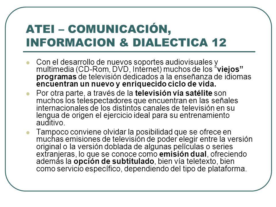 ATEI – COMUNICACIÓN, INFORMACION & DIALECTICA 12 Con el desarrollo de nuevos soportes audiovisuales y multimedia (CD-Rom, DVD, Internet) muchos de los