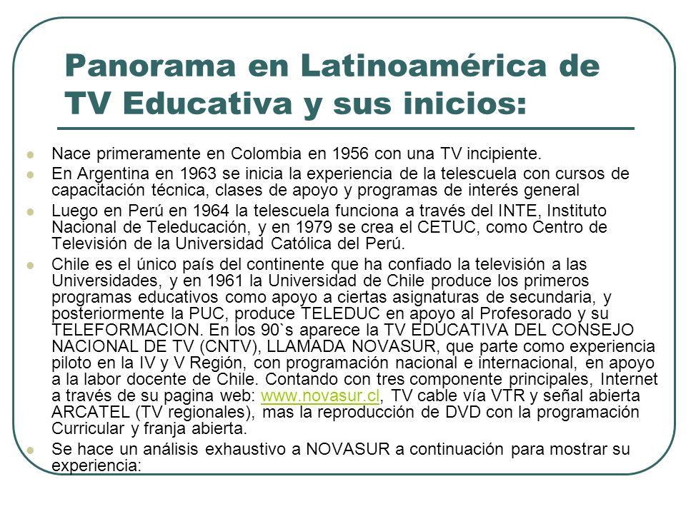 Panorama en Latinoamérica de TV Educativa y sus inicios: Nace primeramente en Colombia en 1956 con una TV incipiente. En Argentina en 1963 se inicia l