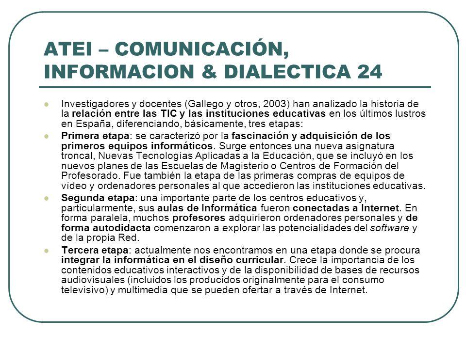 ATEI – COMUNICACIÓN, INFORMACION & DIALECTICA 24 Investigadores y docentes (Gallego y otros, 2003) han analizado la historia de la relación entre las