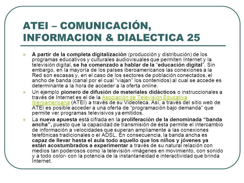 ATEI – COMUNICACIÓN, INFORMACION & DIALECTICA 25 A partir de la completa digitalización (producción y distribución) de los programas educativos y cult