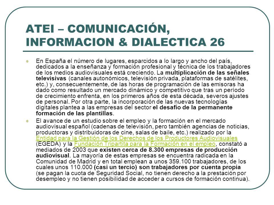 ATEI – COMUNICACIÓN, INFORMACION & DIALECTICA 26 En España el número de lugares, esparcidos a lo largo y ancho del país, dedicados a la enseñanza y fo