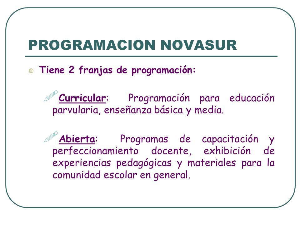 PROGRAMACION NOVASUR Tiene 2 franjas de programación: Curricular: Programación para educación parvularia, enseñanza básica y media. Abierta: Programas