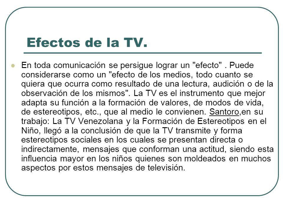 Efectos de la TV. En toda comunicación se persigue lograr un