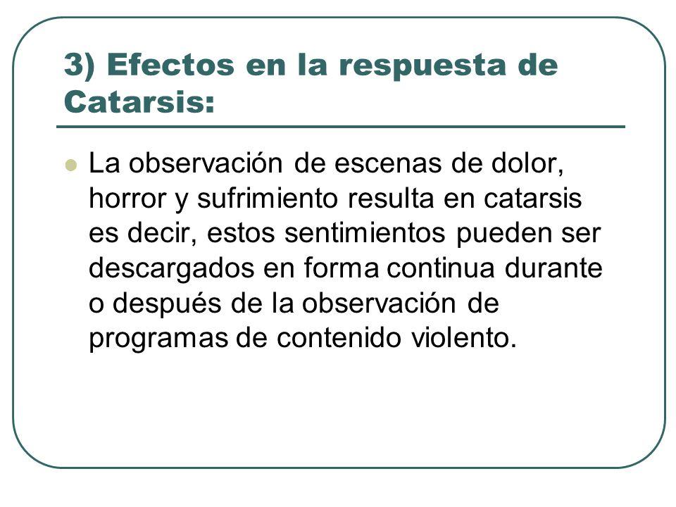 3) Efectos en la respuesta de Catarsis: La observación de escenas de dolor, horror y sufrimiento resulta en catarsis es decir, estos sentimientos pued