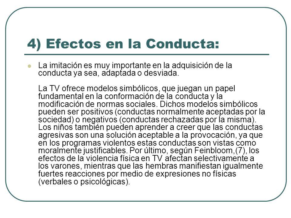 4) Efectos en la Conducta: La imitación es muy importante en la adquisición de la conducta ya sea, adaptada o desviada. La TV ofrece modelos simbólico