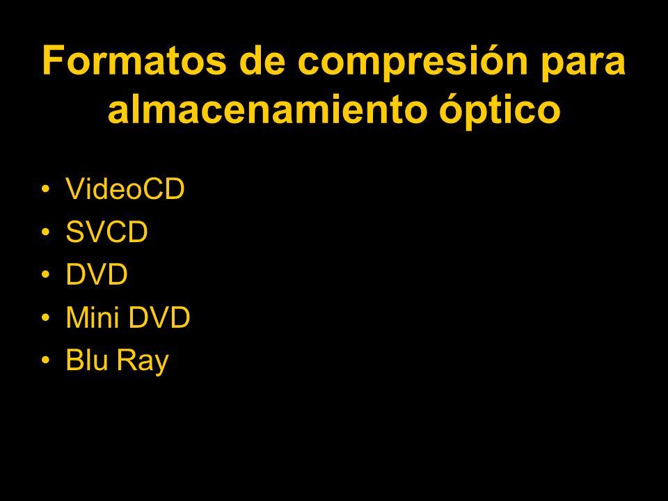 Formatos de compresión para almacenamiento óptico VideoCD SVCD DVD Mini DVD Blu Ray