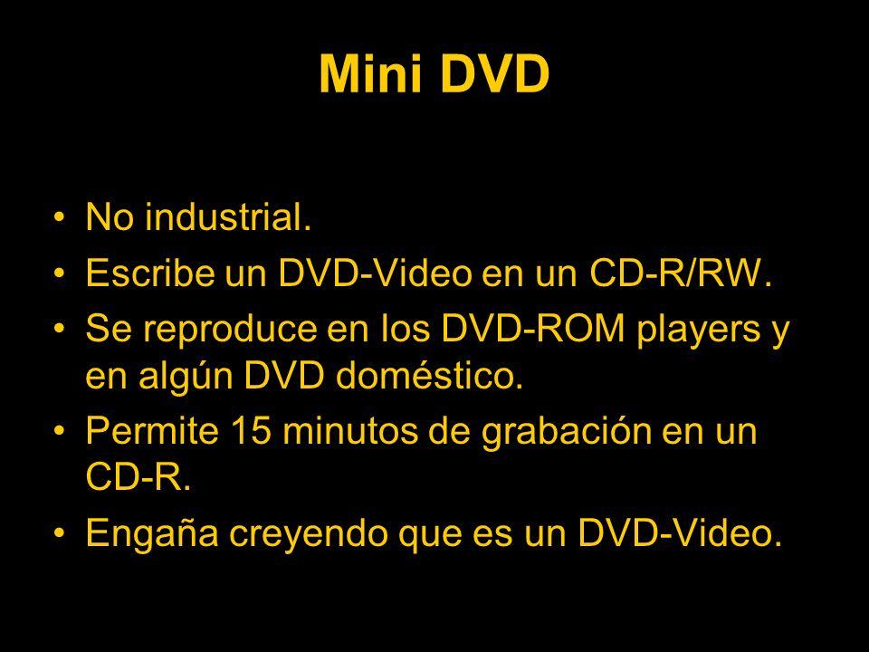Mini DVD No industrial.Escribe un DVD-Video en un CD-R/RW.
