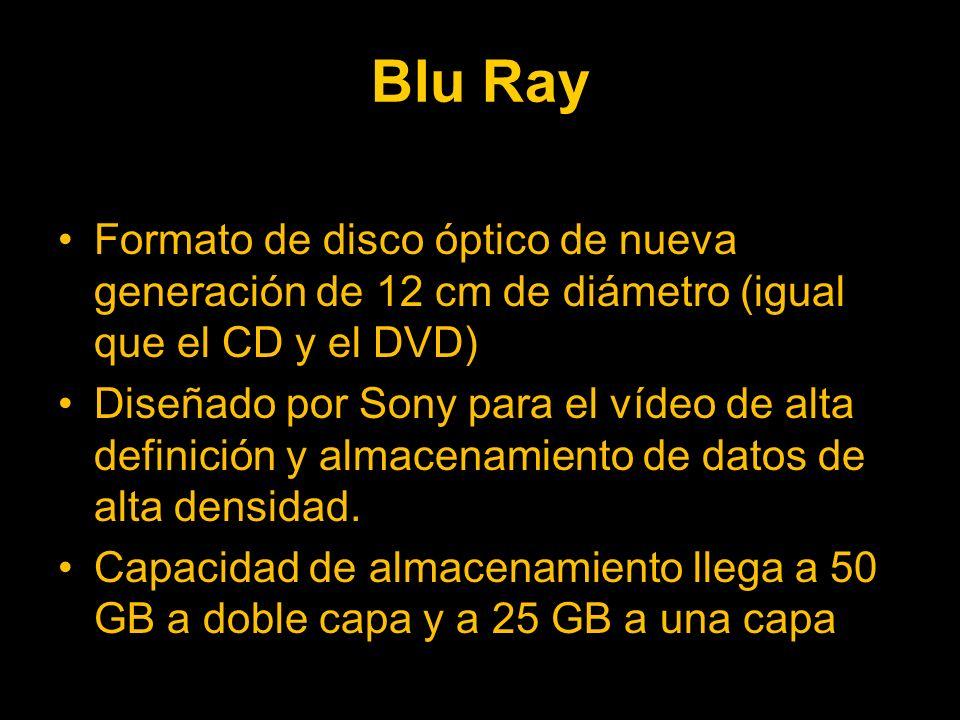 Blu Ray Formato de disco óptico de nueva generación de 12 cm de diámetro (igual que el CD y el DVD) Diseñado por Sony para el vídeo de alta definición y almacenamiento de datos de alta densidad.