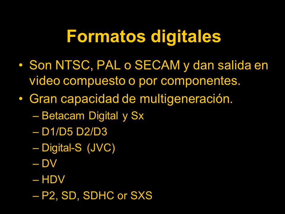Formatos digitales Son NTSC, PAL o SECAM y dan salida en video compuesto o por componentes.