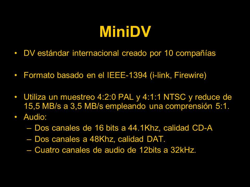 MiniDV DV estándar internacional creado por 10 compañías Formato basado en el IEEE-1394 (i-link, Firewire) Utiliza un muestreo 4:2:0 PAL y 4:1:1 NTSC y reduce de 15,5 MB/s a 3,5 MB/s empleando una comprensión 5:1.