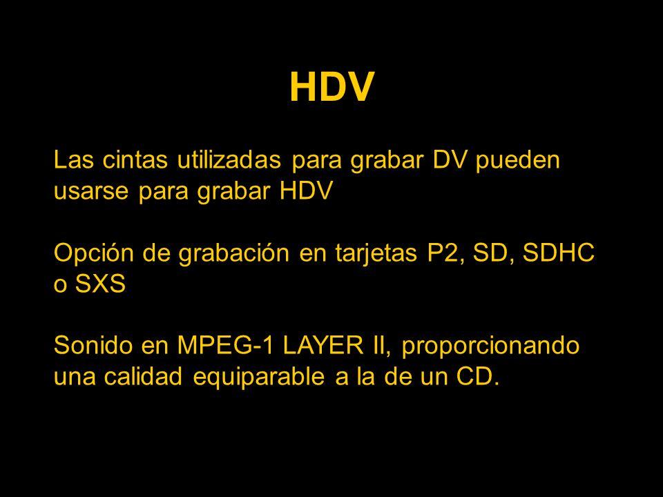 HDV Las cintas utilizadas para grabar DV pueden usarse para grabar HDV Opción de grabación en tarjetas P2, SD, SDHC o SXS Sonido en MPEG-1 LAYER II, proporcionando una calidad equiparable a la de un CD.