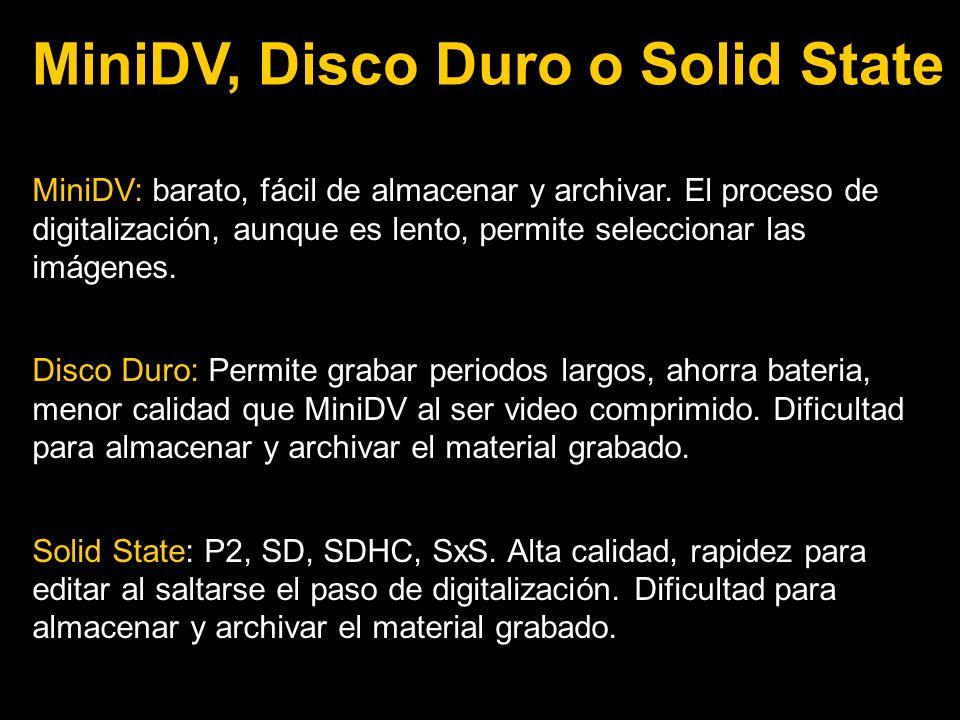 MiniDV: barato, fácil de almacenar y archivar.
