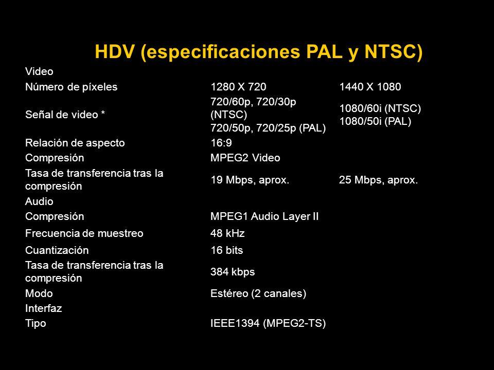 HDV (especificaciones PAL y NTSC) Video Número de píxeles1280 X 7201440 X 1080 Señal de video * 720/60p, 720/30p (NTSC) 720/50p, 720/25p (PAL) 1080/60i (NTSC) 1080/50i (PAL) Relación de aspecto16:9 CompresiónMPEG2 Video Tasa de transferencia tras la compresión 19 Mbps, aprox.25 Mbps, aprox.