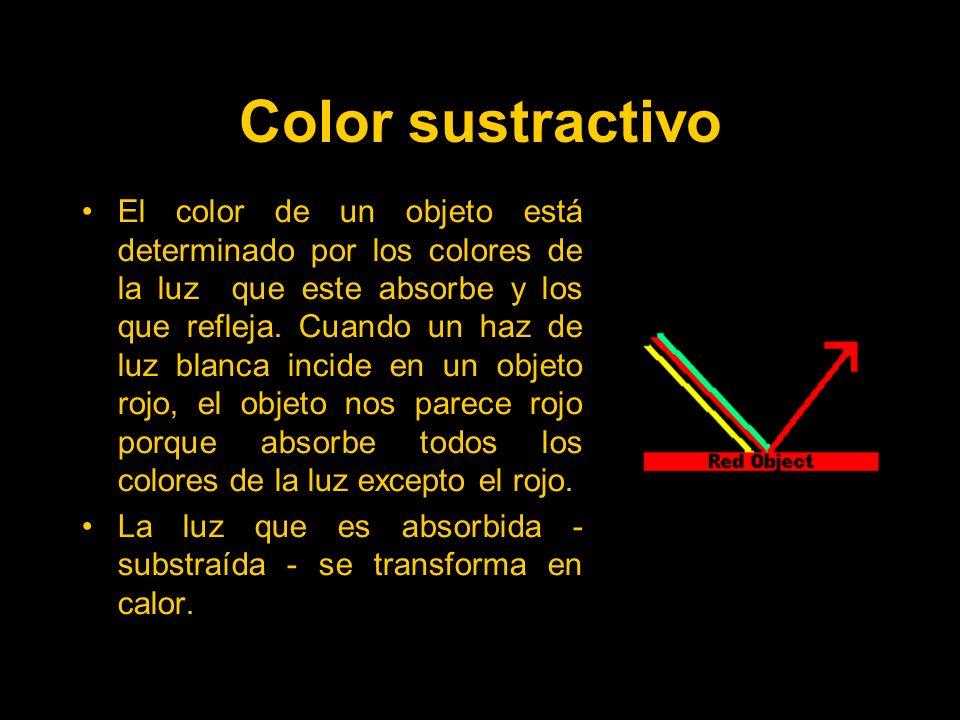 Color sustractivo El color de un objeto está determinado por los colores de la luz que este absorbe y los que refleja.