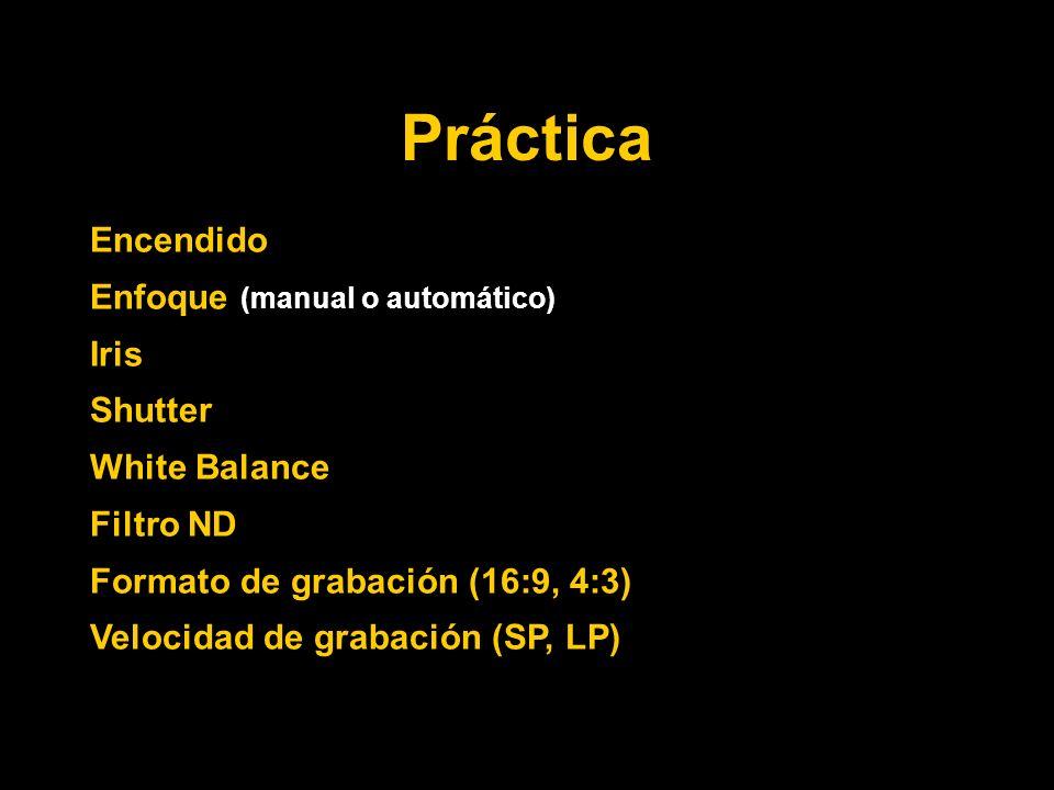 Práctica Encendido Enfoque (manual o automático) Iris Shutter White Balance Filtro ND Formato de grabación (16:9, 4:3) Velocidad de grabación (SP, LP)