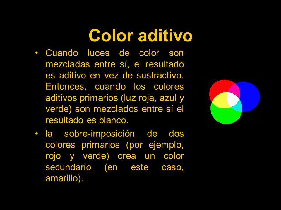 Color aditivo Cuando luces de color son mezcladas entre sí, el resultado es aditivo en vez de sustractivo.