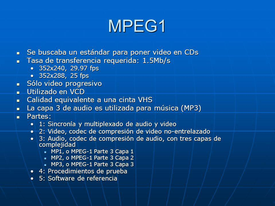 MPEG1 Se buscaba un estándar para poner video en CDs Se buscaba un estándar para poner video en CDs Tasa de transferencia requerida: 1.5Mb/s Tasa de t