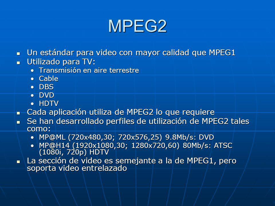 MPEG2 Un estándar para video con mayor calidad que MPEG1 Un estándar para video con mayor calidad que MPEG1 Utilizado para TV: Utilizado para TV: Tran