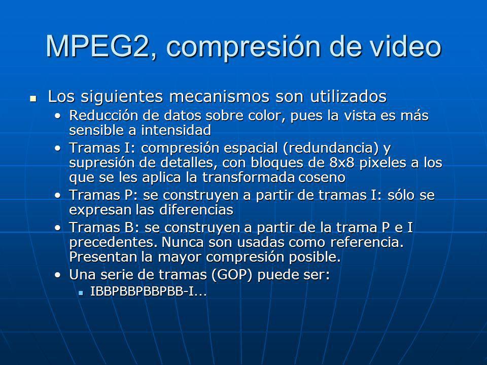 MPEG2, compresión de video Los siguientes mecanismos son utilizados Los siguientes mecanismos son utilizados Reducción de datos sobre color, pues la v