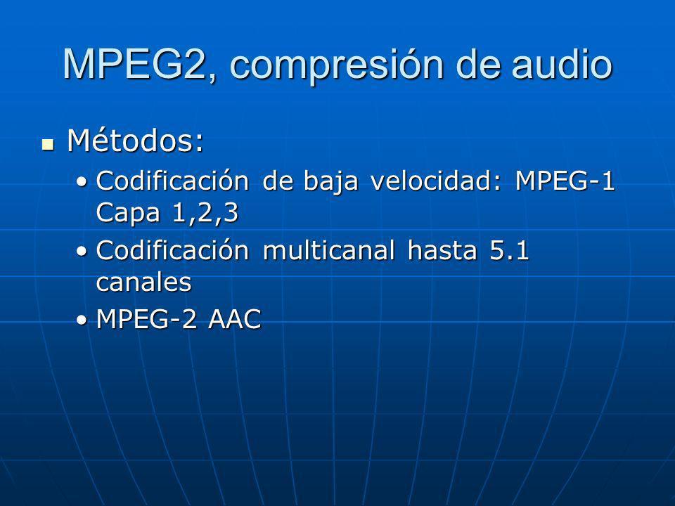 MPEG2, compresión de audio Métodos: Métodos: Codificación de baja velocidad: MPEG-1 Capa 1,2,3Codificación de baja velocidad: MPEG-1 Capa 1,2,3 Codifi