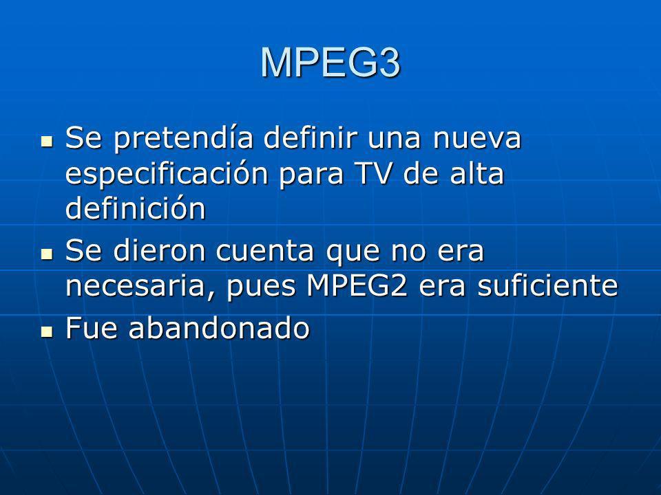 MPEG3 Se pretendía definir una nueva especificación para TV de alta definición Se pretendía definir una nueva especificación para TV de alta definició