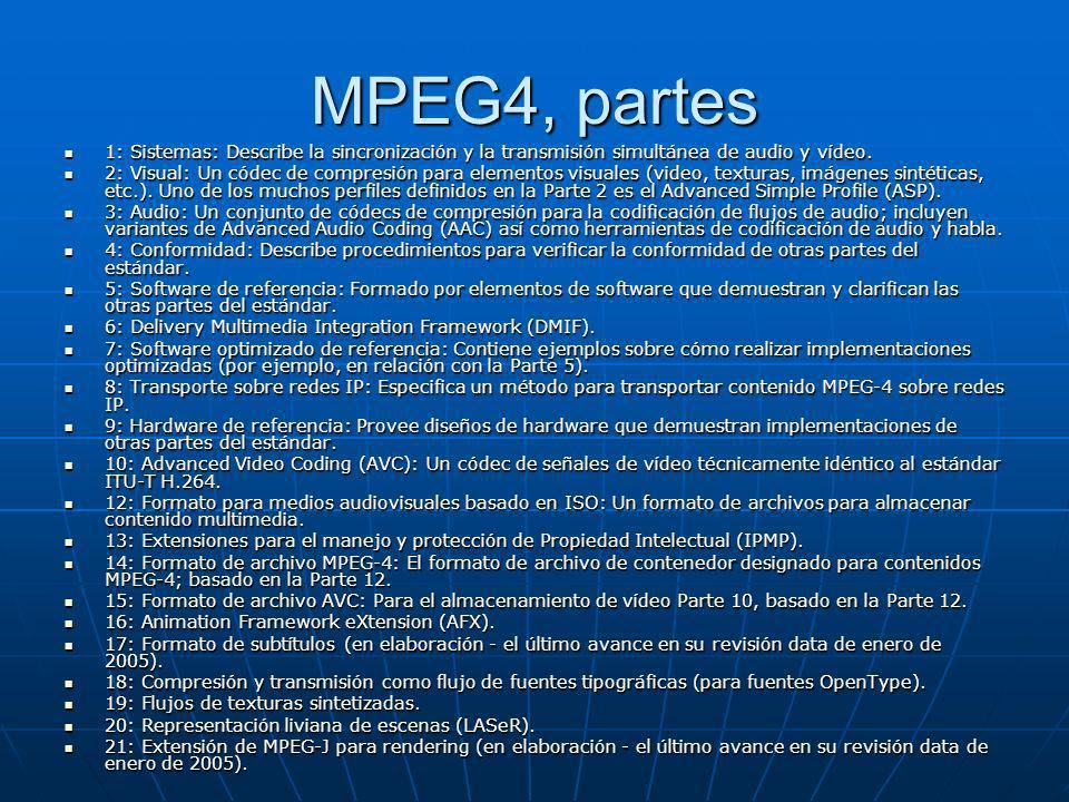 MPEG4, partes 1: Sistemas: Describe la sincronización y la transmisión simultánea de audio y vídeo. 1: Sistemas: Describe la sincronización y la trans