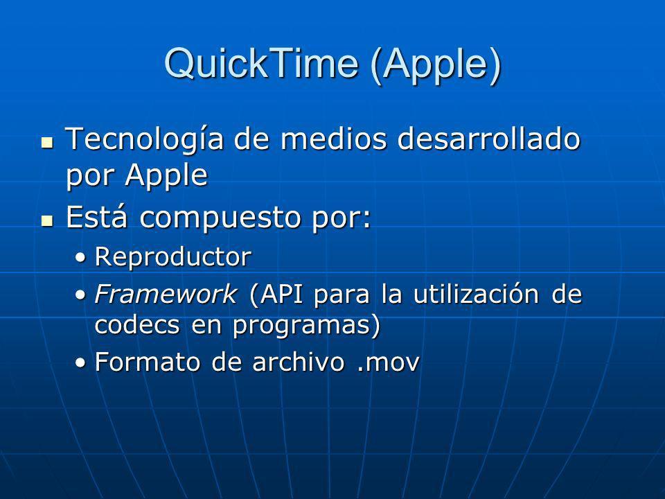 QuickTime (Apple) Tecnología de medios desarrollado por Apple Tecnología de medios desarrollado por Apple Está compuesto por: Está compuesto por: Repr