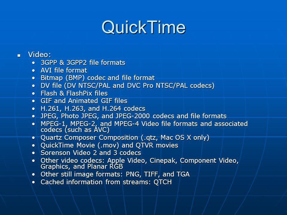 QuickTime Video: Video: 3GPP & 3GPP2 file formats3GPP & 3GPP2 file formats AVI file formatAVI file format Bitmap (BMP) codec and file formatBitmap (BM