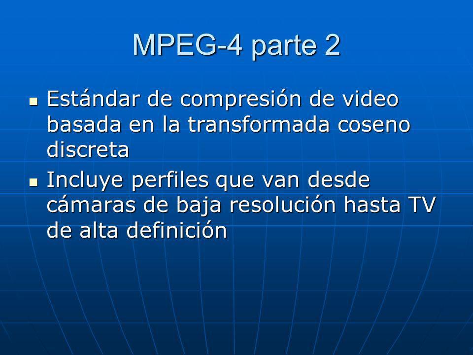 MPEG-4 parte 2 Estándar de compresión de video basada en la transformada coseno discreta Estándar de compresión de video basada en la transformada cos