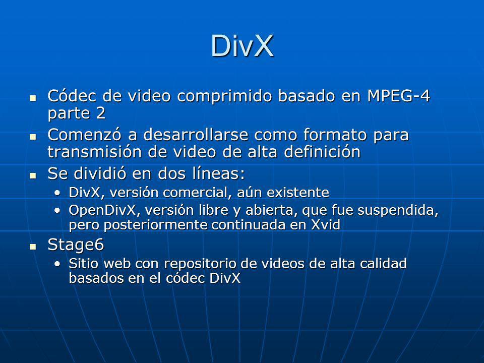 DivX Códec de video comprimido basado en MPEG-4 parte 2 Códec de video comprimido basado en MPEG-4 parte 2 Comenzó a desarrollarse como formato para t