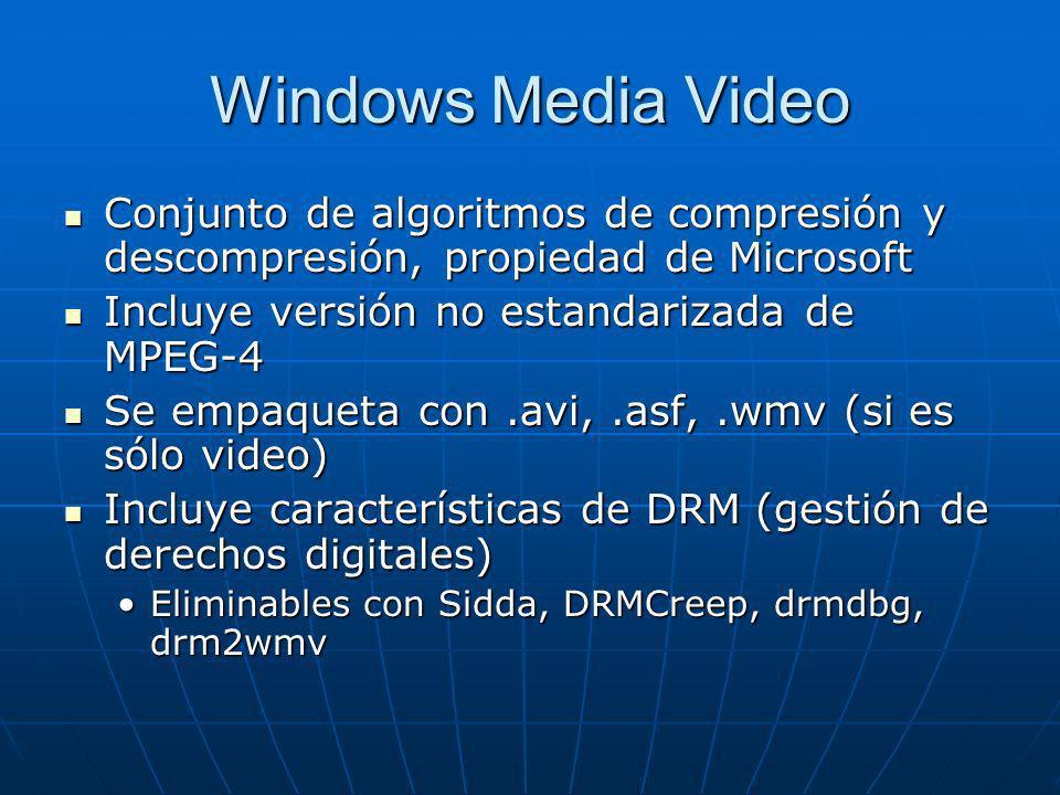 Windows Media Video Conjunto de algoritmos de compresión y descompresión, propiedad de Microsoft Conjunto de algoritmos de compresión y descompresión,