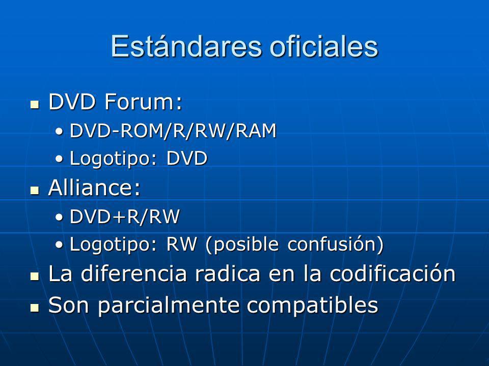 Estándares oficiales DVD Forum: DVD Forum: DVD-ROM/R/RW/RAMDVD-ROM/R/RW/RAM Logotipo: DVDLogotipo: DVD Alliance: Alliance: DVD+R/RWDVD+R/RW Logotipo: RW (posible confusión)Logotipo: RW (posible confusión) La diferencia radica en la codificación La diferencia radica en la codificación Son parcialmente compatibles Son parcialmente compatibles