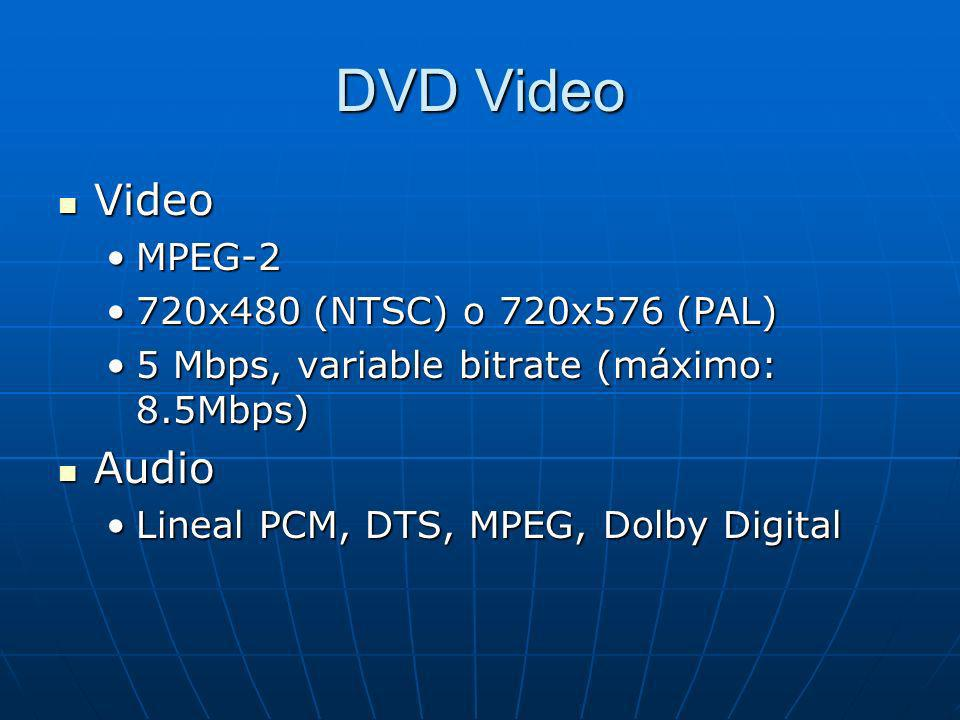 DVD Video Video Video MPEG-2MPEG-2 720x480 (NTSC) o 720x576 (PAL)720x480 (NTSC) o 720x576 (PAL) 5 Mbps, variable bitrate (máximo: 8.5Mbps)5 Mbps, variable bitrate (máximo: 8.5Mbps) Audio Audio Lineal PCM, DTS, MPEG, Dolby DigitalLineal PCM, DTS, MPEG, Dolby Digital