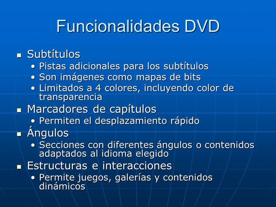 Funcionalidades DVD Subtítulos Subtítulos Pistas adicionales para los subtítulosPistas adicionales para los subtítulos Son imágenes como mapas de bits
